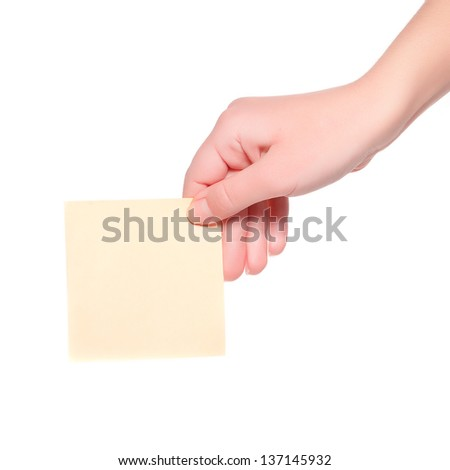 card blank in a hand on white background