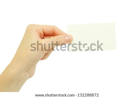 card blanks in a hand on white background - stock photo