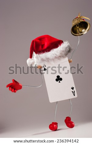 Card character with a bell  wishes Merry Christmas - stock photo