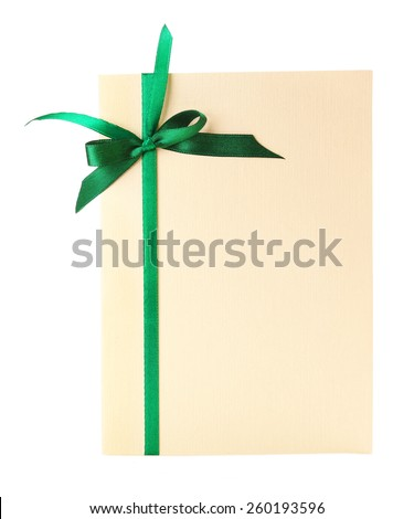 Card decorated with green bow isolated on white