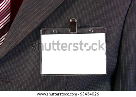 card empty ID badge on man suit - stock photo