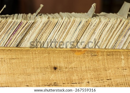 Card file box in the archive. Can be used as background       - stock photo