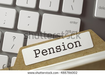 Card File with Inscription Pension on Background of Modern Keyboard. Business Concept. Closeup View. Selective Focus. Toned Illustration. 3D Rendering.