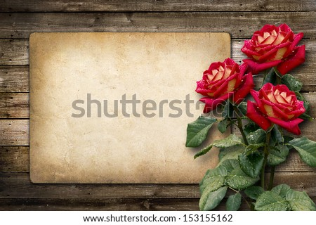 Card for invitation or congratulation with red rose in vintage style - stock photo