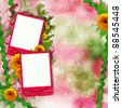 Card for invitation or congratulation with  yellow flowers and pink, green background - stock photo