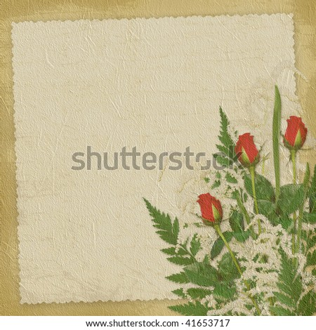 Card for the invitation or congratulation with roses on the abstract background