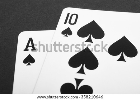 Card game with black jack detail. Black and white. Horizontal - stock photo