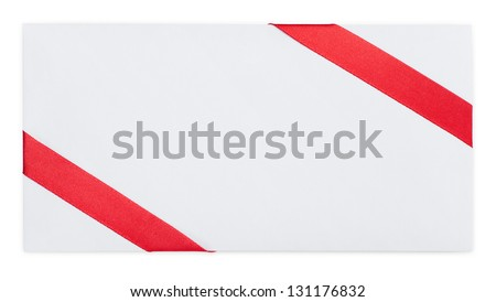 Card note with red ribbon, isolated on white. Symbol of party and happy holiday