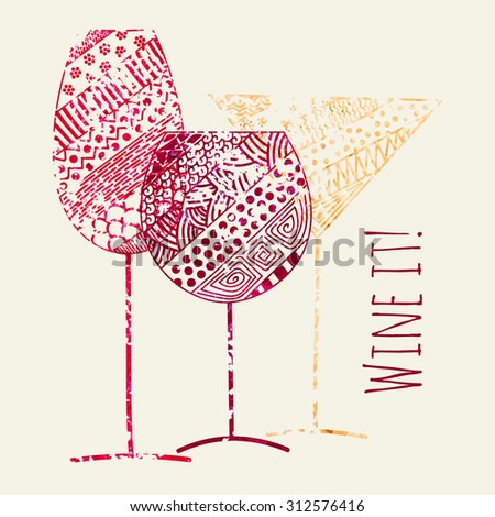 Card of wine, vermouth and champagne grunge glasses for restaurant and bar menu design. Raster copy of vector file. - stock photo