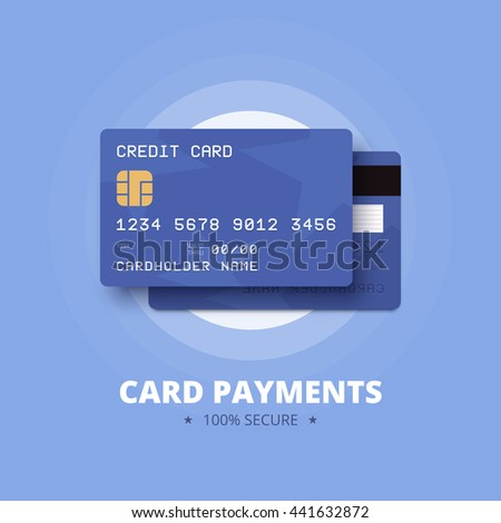 Card payments illustration. Blue credit, debit card with front and back view.