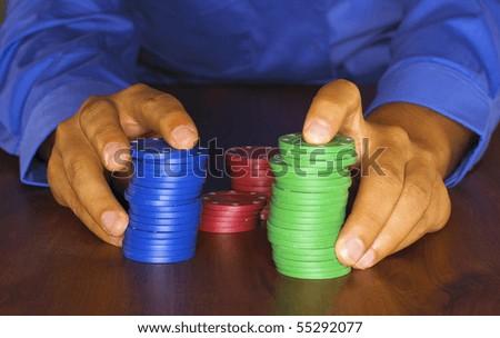Card player in casino - stock photo