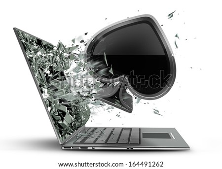 card sign exit by a monitor of laptop screen isolated on white background High resolution 3d  - stock photo