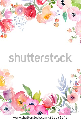 Card template with watercolor roses. Blank space for your text. Illustration for greeting cards, invitations, and other printing projects. - stock photo