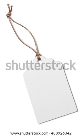 Card with a cord isolated on white