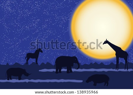 Card with african animals silhouettes over moon. Raster version. - stock photo
