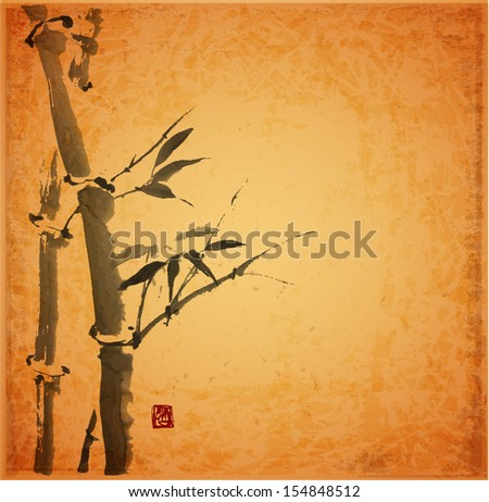 Card with bamboo on vintage background in sumi-e style. Hand-drawn with ink.  - stock photo