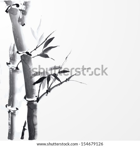 Card with bamboo on white background in sumi-e style. Hand-drawn with ink.  - stock photo