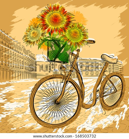 card with bicycle and sunflowers. Raster version  - stock photo