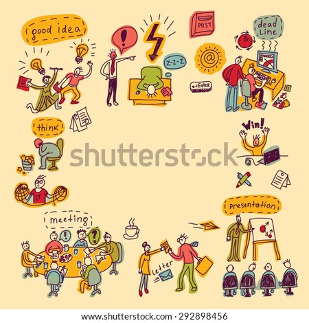 Card with creative people, symbols and icons. Every object is separated. Color  illustration. - stock photo