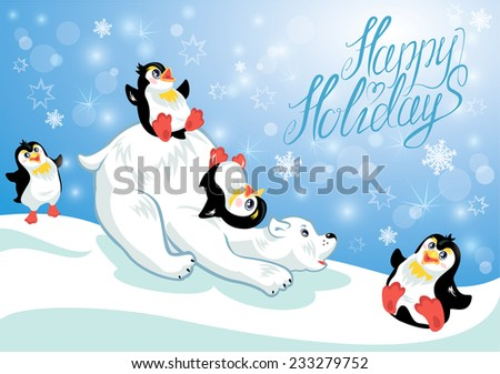 Card with funny penguins and polar bear on blue snow background, cartoons for winter, Christmas or New Year design. Hand written text Happy Holidays.  Raster version - stock photo
