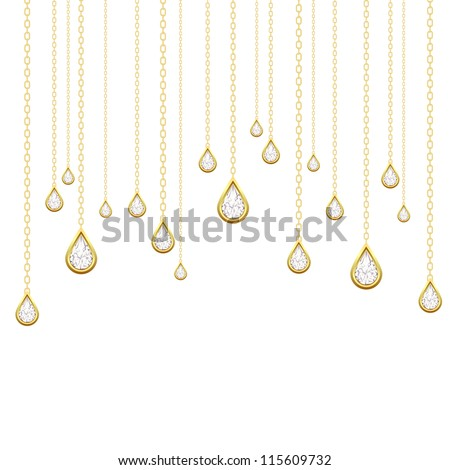 Card with golden drops with brilliants on a white background. - stock photo