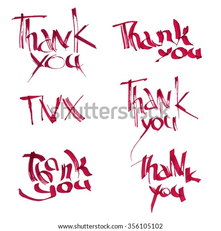 Card with ink inscription thank you. Set of thank you card. Ink lettering with thank you note. Hand written unique thanksgiving card. - stock photo