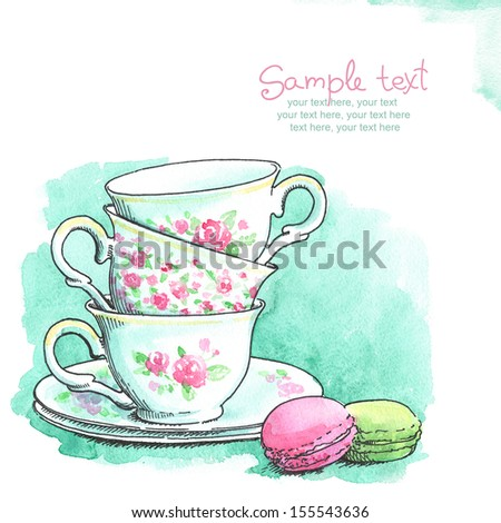 card with painted watercolor french dessert macaroons and tea cups - stock photo