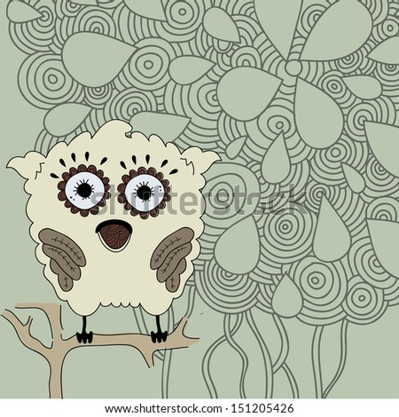 Card with pretty owl on orate background. Raster copy of vector illustration - stock photo