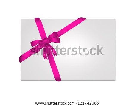 Card with purple gift bows with ribbons on white background