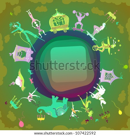 card with rounded label showing colorful circus caravan with magician, elephant, dancer, acrobat, mermaid and other fun characters - stock photo