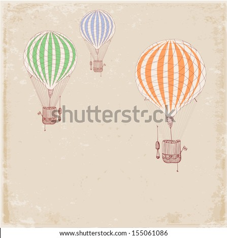 Card with vintage balloons. Place for your text.  - stock photo