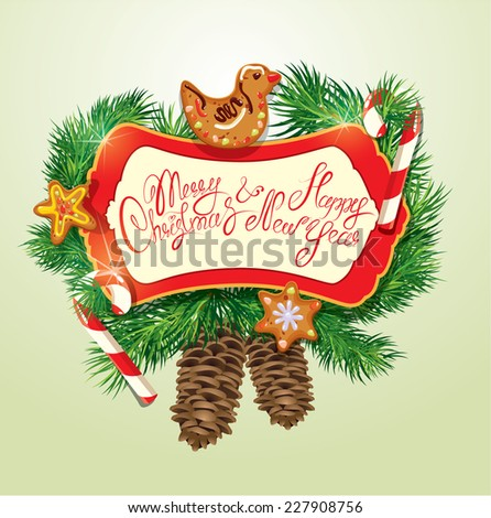 Card with xmas gingerbread, candy canes and fir-tree branches. Hand written text Merry Christmas and Happy New Year. Elements for Christmas and New Year holidays design. Raster version