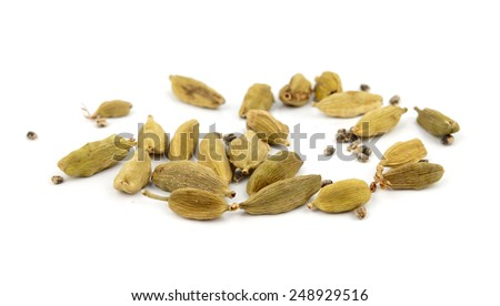 cardamom isolated on white - stock photo