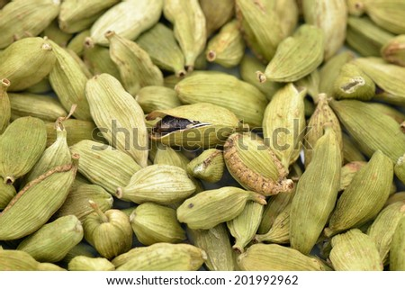 Cardamom pods dried  with seeds  to use as background - stock photo