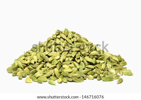 Cardamom seeds isolated on white background - stock photo