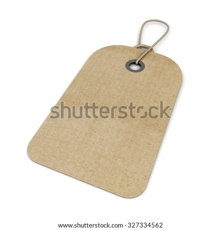 Cardboard blank price isolated on white background. 3d render image.
