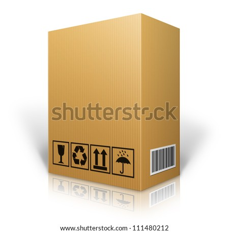 cardboard box blank for shipping order moving or storage with labels and bar code - stock photo