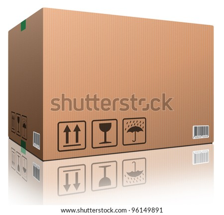 cardboard box blank with copy space and isolated on white brown package for shipping order moving or storage with labels and bar code closed and sealed icon - stock photo