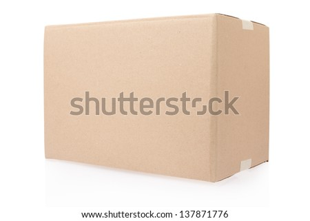 Cardboard box closed with tape on white, clipping path included - stock photo