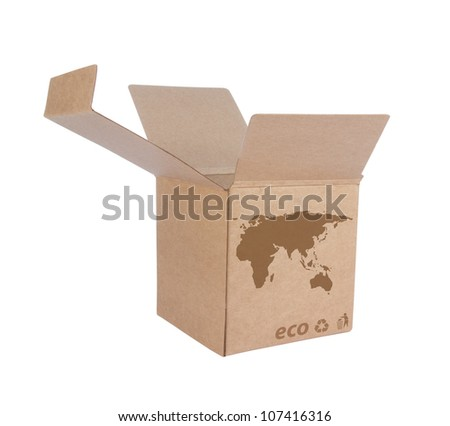 Cardboard box front side with Icon ecological map Euro+Asia isolated on white background