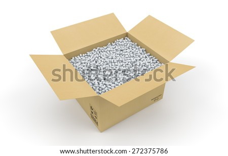 Cardboard box full of shipping protective peanuts isolated with clipping path - stock photo