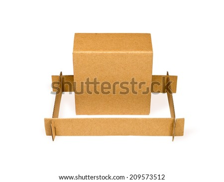 cardboard box in frame on white background