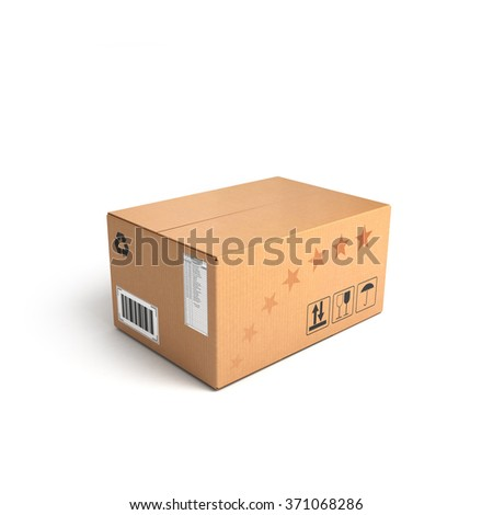 Cardboard Box isolated on a White background with clipping path - stock photo