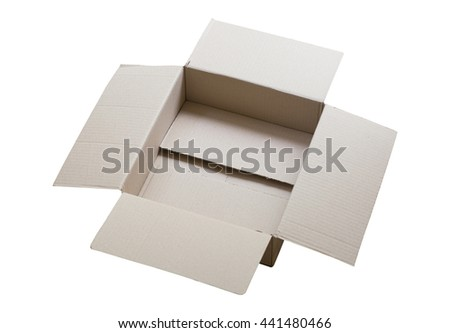 Cardboard box isolated on white - stock photo