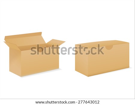 Cardboard box isolated on white background. Raster version - stock photo