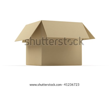 Cardboard box on a white background. - stock photo