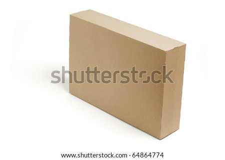 Cardboard Box on Isolated White Background - stock photo