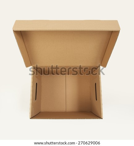 Cardboard box on white - stock photo