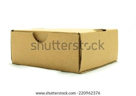 Cardboard box on white background.  - stock photo