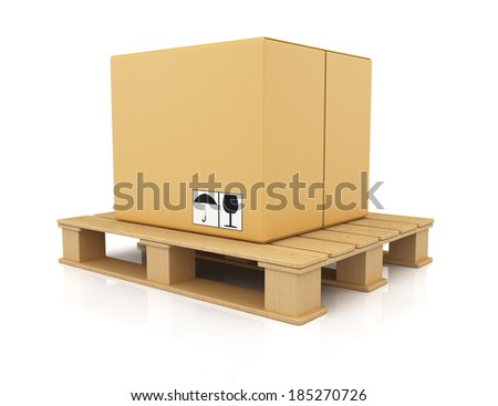 Cardboard box on wooden pallet isolated on white background. 3d rendering illustration - stock photo